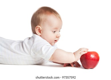 baby with red apple, on a white background