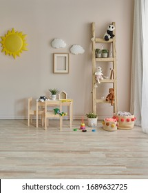 Baby room object wooden detail style, pink chair, stair and toy.