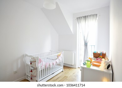Baby room in scandinavian style, bedroom