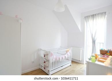 Baby room in scandinavian style, nursery room