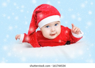Baby in Santa Claus costume
