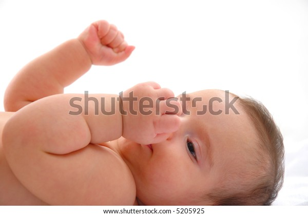 Baby shaking the arms on white background.