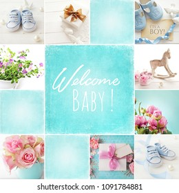 baby shoes collage, baby boy birth card