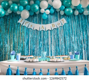 The Baby shower backdrop. It's a boy . Blue balloons background. Blue background.