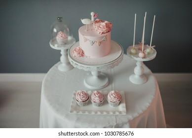 Baby shower - Birthday cake, muffins and cake pops