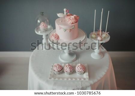 Baby Shower Birthday Cake Muffins Stock Photo Edit Now