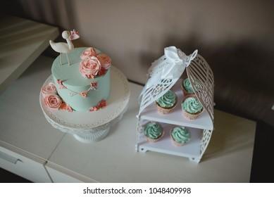 Baby shower cake and muffins arrangement