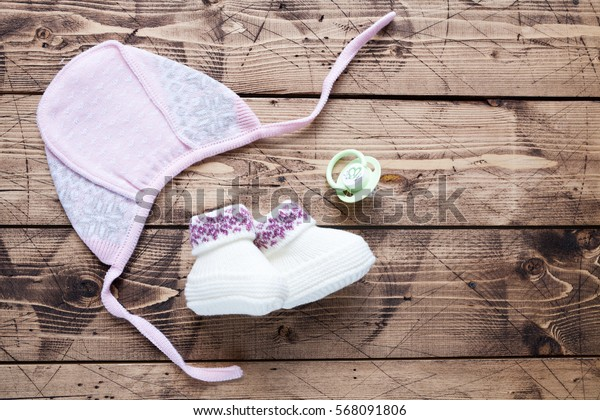 Baby shower concept on wood background