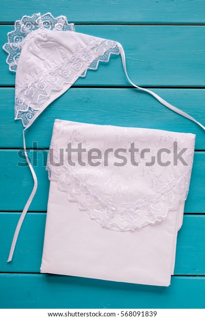 Baby shower concept on wood blue background