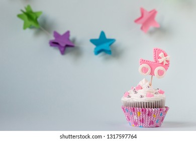 Baby shower cupcake. Welcome baby girl concept. Text space