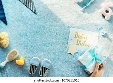 Baby shower flat lay