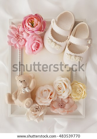 Baby Shower Frame Background Baby Shoes Stock Photo Edit Now