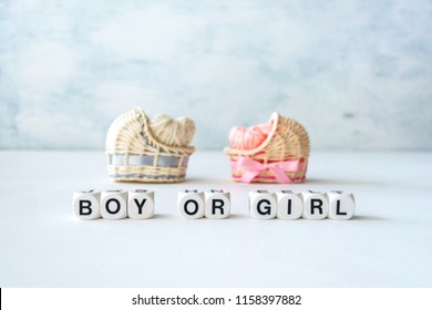 Baby shower ideas for a girl and boy party. Pink and blue decorative straw cradles with thread hearts and text BOY or GIRL.