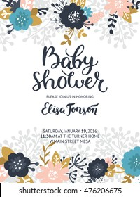Baby shower invite. Boho floral card with flowers, arrows, feathers, branches, hand drawn text and gold decorative elements