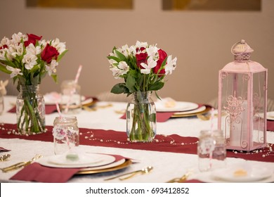 Baby shower party. Decoration for event. Celebration. table with flowers