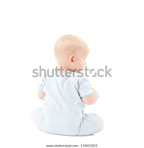 Baby Sitting On Floor Wearing Blue Stock Image Download Now