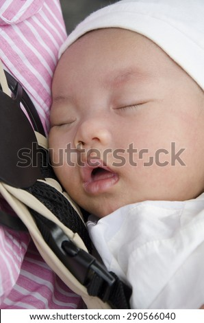 c66a6738b1e Baby Sleep Whit Mom Carry Bag Stock Photo (Edit Now) 290566040 ...