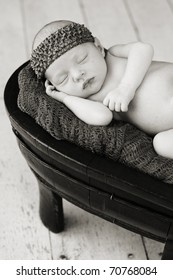 Baby sleeping in a prop