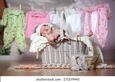 Baby sleeps after washing