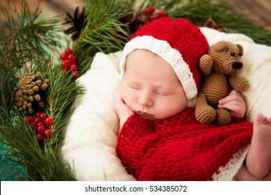 baby sleeps in a basket in Christmas costumes