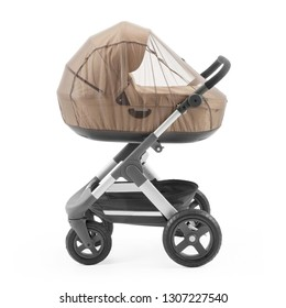 Baby Stroller Isolated on White. Side View of Brown Travel System with Carry Cot and Mosquito Net. Infant Carriage Seat. Pram with Canopy and Swivel Front Wheels. Pushchair with Showerproof Hood