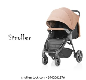 Baby Stroller Isolated on White Background. Travel System Front Side View with Swivel Front Wheels and Brown Canopy. Pushchair or Pram with Adjustable Showerproof Hood. Beige Infant Carriage Seat
