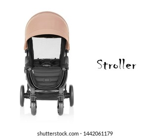 Baby Stroller Isolated on White Background. Travel System with Brown Canopy and Swivel Front Wheels. Beige Infant Carriage Seat. Pushchair Front View. Pram with Adjustable Showerproof Hood