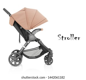 Baby Stroller Isolated on White Background. Beige Infant Carriage Seat. Travel System Front Side View with Swivel Front Wheels and Brown Canopy. Pushchair or Pram with Adjustable Showerproof Hood