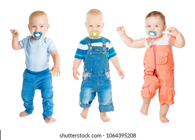 Baby Sucking Pacifier, Infant Kids Group Suck Soother Dummy and Dancing, Children Isolated on White Background, one year old