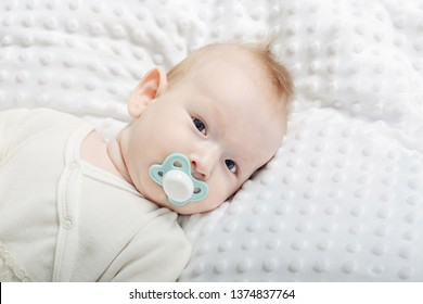 baby sucks a dummy on a light background, photo with copy space