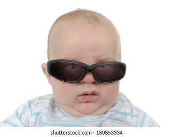 Baby with sunglasses getting angry