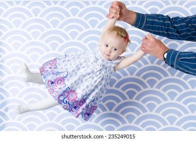 baby swing on hands