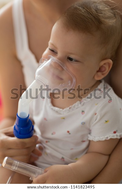 Respiratory Therapy Inhalation Stock Mother Baby Image Taking