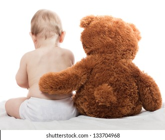baby and teddy bear great friends