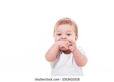 baby teething isolated