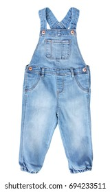 Baby toddler blue jean overall isolated on white.fashion denim kid's wear.