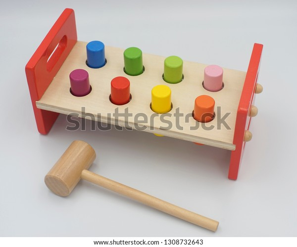 Baby Toddler Colorful Wooden Peg Hammer Stock Photo Edit Now