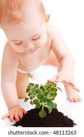 Baby touching the plant, isolated, over white
