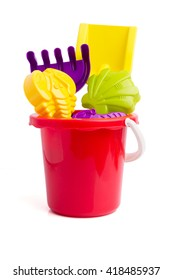 Baby toy bucket and shovel rake isolated on white background