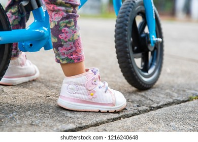 Baby train to ride bicycle
