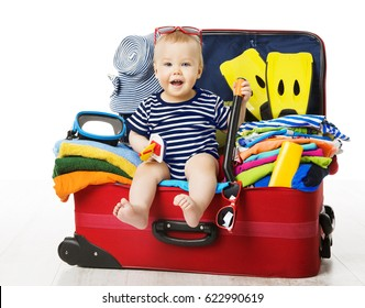 Baby in Travel Suitcase, Kid Sitting Vacation Luggage, Child inside Packed Bag, White Isolated