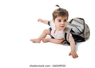 Baby trying to scape from the school with a backpack full of books