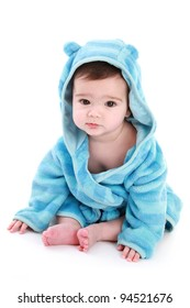 Baby wearing dressing gown