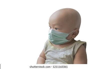 The baby is wearing a mask without hair.