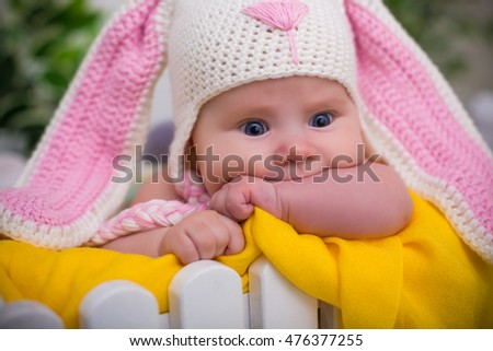 866039dfcf9 Baby Wearing Rabbit Hat Portrait Spring Stock Photo (Edit Now ...