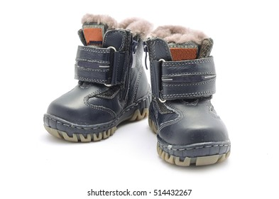 baby winter boots isolated on white