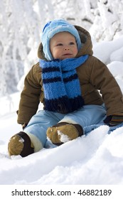 Baby in winter on snow