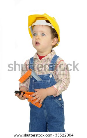 cef44b80d7e Baby Worker Hat Tools Isolated White Stock Photo (Edit Now) 33522004 ...