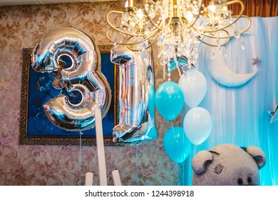 babyboy birthday party decor white blue stock photo edit now