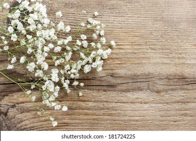 Baby's breath (gypsophilia paniculata) on wooden background